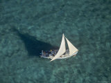 Aerial of a Sailboat over Glover's Reef, Belize Photographic Print by Kenneth Garrett