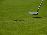 Close Up of Golf Ball in a Hole with Putter, Groton, Connecticut Photographic Print by Todd Gipstein
