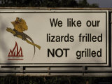 Bush Fire Conservation Road Sign Protects the Frilled Lizards Habitat, Australia Photographic Print by Jason Edwards