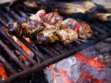 Closeup of Chicken Kebabs Cooking on a Campfire, Cape Cod, Massachusetts Photographic Print by Tim Laman