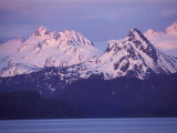 Alpenglow on the Kenai Mountains from Homer, Alaska Photographic Print by Rich Reid