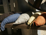 Bundles of Colorful Wool Yarn on Rustic Wool Spinner, California Photographic Print by Gina Martin