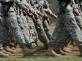 Army Rangers Marching in Formation with Blur Photographic Print by Skip Brown