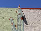 Cactus Mural Building Exterior, Marin, California Photographic Print