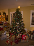 Christmas Tree with Gifts Inside a Home Photographic Print by John Burcham