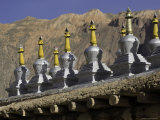 Buddhist Stupa at the Base of a Mountain, Qinghai, China Photographic Print by David Evans