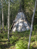 Birch Bark Teepee in the Woods Photographic Print by Skip Brown