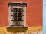 Barred Window in a Painted Building, San Miquel de Allende, Mexico Photographic Print by David Evans