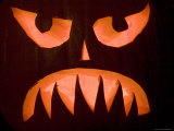 Closeup of a Carved, Lit Pumpkin, Lexington, Massachusetts Photographic Print by Tim Laman