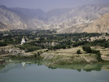 Buddhist Stupa Reflected in the Yellow River, Qinghai, China Photographic Print by David Evans
