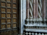 Architectural Detail of the Door and Marble Columns of the Duomo, Tuscany, Italy Photographic Print by Todd Gipstein