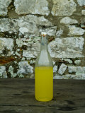 Bottle of Limoncello Sits on a Picnic Table at a Tuscan Villa, Tuscany, Italy Photographic Print by Todd Gipstein