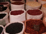 Bags of Mexican Beans at a Market, San Cristobal de Las Casas, Mexico Photographic Print by Gina Martin