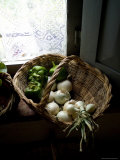 Basket of Vegetables on a Kitchen Shelf by a Window, Tuscany, Italy Photographic Print by Todd Gipstein