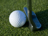 Close View of a Putter against a Golf Ball on the Green, Groton, Connecticut Photographic Print by Todd Gipstein