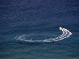 Boat Circles in the Ocean Off the Coast of Oahu Island, Hawaii Photographic Print by Stacy Gold
