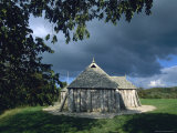 Denmark: Viking Center Fyrkat, Replica Viking Long House Stampa fotografica di  Brimberg & Coulson