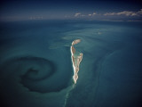 Calm Tidal Swirl Can Be Seen Left of the Lacepede Islands, Australia Photographic Print by David Doubilet