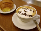 Florence, Italy, Cappuccino with Text in Chocolate Photographic Print by  Brimberg & Coulson