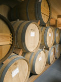 French Oak Barrels of Wine at Midnight Cellars Winery in Paso Robles, California Fotoprint van Rich Reid