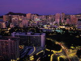 Honolulu, Hawaii from the Hilton Hotel Photographic Print by Richard Nowitz