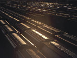 Freight Trains in Railway Yard, Sunset, Kansas Photographic Print by  Brimberg & Coulson