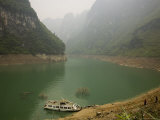 Boat Docked in Flooded Furong River, Chongqing Province, China Photographic Print by David Evans