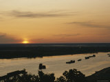 Barges Silhouetted on the Volga River at Dawn Photographic Print by James P. Blair