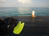 Boat Dock and Dive Gear at the Caribe Blue Hotel South of Town, Cozumel, Mexico Photographic Print by Michael S. Lewis