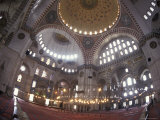 Interior Dome of the Suleymaniye Mosque in Istanbul, Turkey Photographic Print by Richard Nowitz