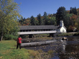 Covered Bridge and Church in Stark, New Hampshire Photographic Print by Richard Nowitz