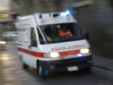 Early Morning Ambulance Speeds by for Rescue Operation, Florence, Italy Photographic Print by  Brimberg & Coulson