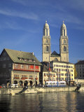 Grossmunster Church Built in Gothic Style in 1781 on the Limmat River in Zurich, Switzerland Photographic Print by Richard Nowitz