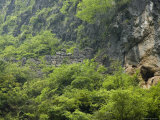 Ancient Stone Wall on Hillside Shore of Lesser Three Gorges, China Photographic Print by David Evans