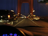 Crossing Golden Gate Bridge Traffic Ealy Morning, Motion, California Photographic Print by  Brimberg & Coulson