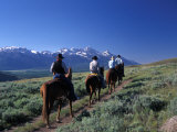 Horseback Riders at the Spring Creek Ranch near Grand Teton National Park Photographic Print by Richard Nowitz