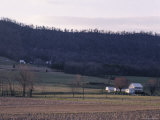 Farmland Carves the Side of a Mountain in Pennsylvania Photographic Print by Stacy Gold