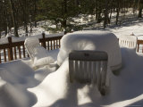 Deep Snow Covers Table and Chairs on a Deck, Lexington, Massachusetts Photographic Print by Tim Laman