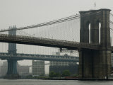 Brooklyn Bridge and Manhattan Bridge as Seen from South Street Seaport, New York, New York Photographic Print by Todd Gipstein