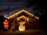 House Decorated for the Christmas Holiday Fotoprint van John Burcham