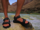 Detail of Sandals and Feet in the Grand Canyon National Park, Arizona Photographic Print by Bobby Model