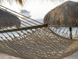 Hammock on Beach with Ship in Background, Cabo San Lucas, Mexico Photographic Print by Gina Martin