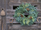 Horseshoes and Holiday Wreath on Arroyo Hondo Stables, California Photographic Print by Rich Reid