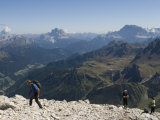Hikers on Boe Peak above Arabba Valley in the Italian Dolomites, Italy Photographic Print by Bill Hatcher