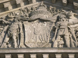 Historical Sculpture of Soldiers in Battle on the New Reichstag Facade, Berlin, Germany Photographic Print by Jason Edwards