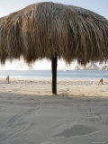 Dried Palm Leaves Give Shade on the Beach, Cabo San Lucas, Mexico Photographic Print by Gina Martin