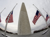 Fisheye Lens View of Washington Monument Surrounded by American Flags, Washington, D.C. Photographic Print by Tim Laman