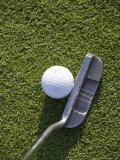 High Angle View of a Putter against a Golf Ball on the Green, Groton, Connecticut Photographic Print by Todd Gipstein