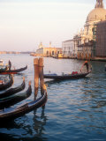 Gondoliers on the Grand Canal at Sunset, Venice, Italy Photographic Print by Michael S. Lewis