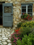 Flowers Line the Path and Adorn a Window of a Tuscan Villa, Tuscany, Italy Photographic Print by Todd Gipstein